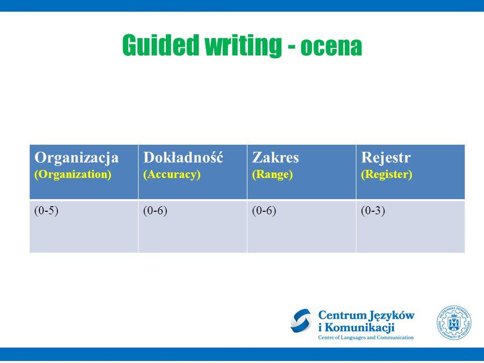 Guided writing - ocena Organizacja (Organization) Dokładność (Accuracy) Zakres (Range) Rejestr (Register) (0-5)(0-6) (0-3)