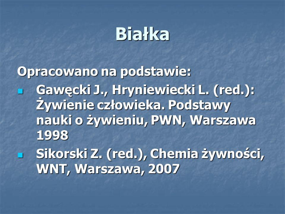 Białka Opracowano na podstawie: Gawęcki J., Hryniewiecki L. (red.): Żywienie człowieka. Podstawy nauki o żywieniu, PWN, Warszawa 1998 Gawęcki J., Hryn
