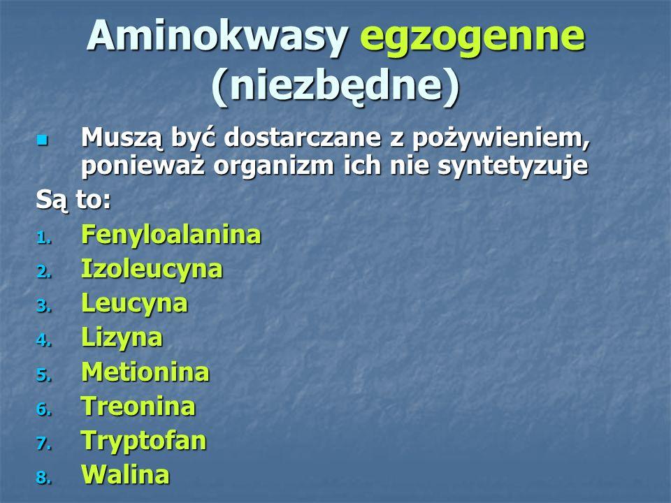 Aminokwasy względnie egzogenne (względnie niezbędne) Są wytwarzane w organizmie, ale w szczególnych warunkach, np.
