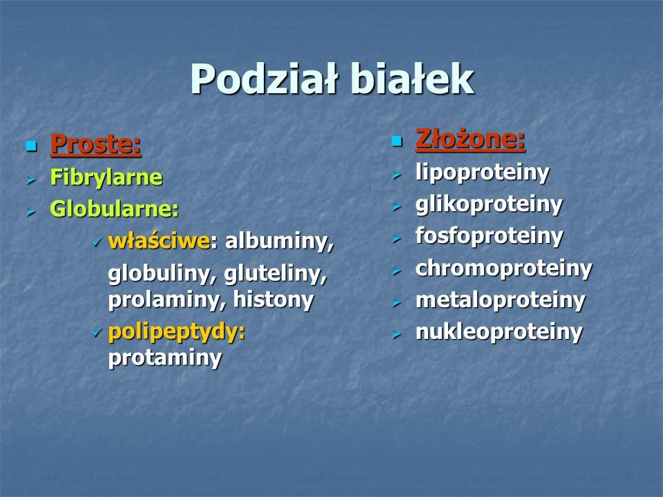 Podział białek Proste: Proste:  Fibrylarne  Globularne: właściwe: albuminy, właściwe: albuminy, globuliny, gluteliny, prolaminy, histony polipeptydy: protaminy polipeptydy: protaminy Złożone: Złożone:  lipoproteiny  glikoproteiny  fosfoproteiny  chromoproteiny  metaloproteiny  nukleoproteiny