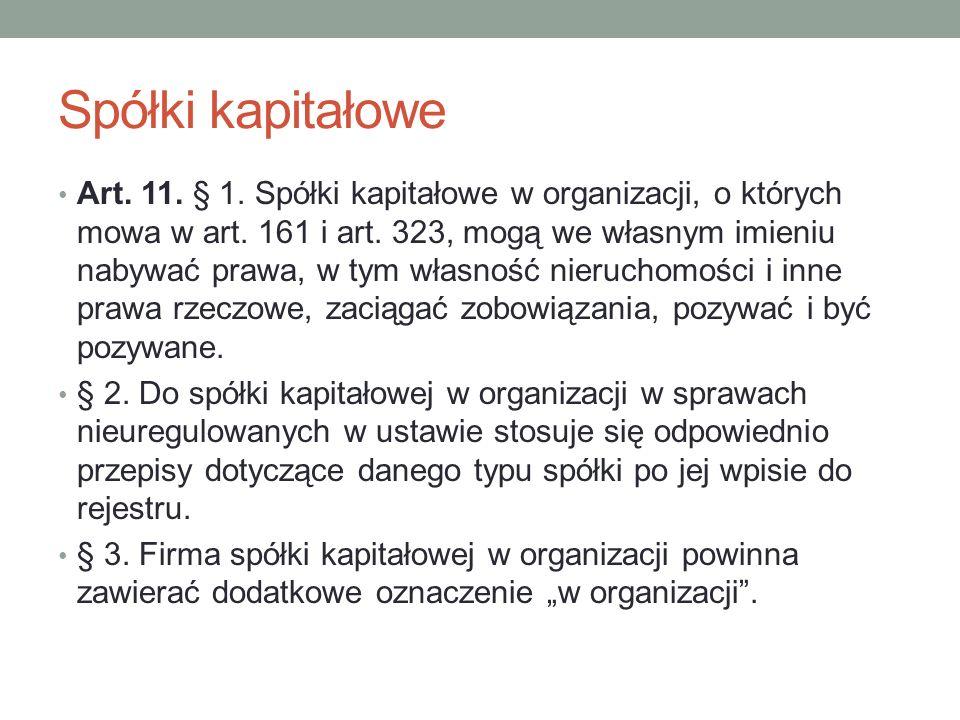 Spółki kapitałowe Art. 11. § 1. Spółki kapitałowe w organizacji, o których mowa w art. 161 i art. 323, mogą we własnym imieniu nabywać prawa, w tym wł