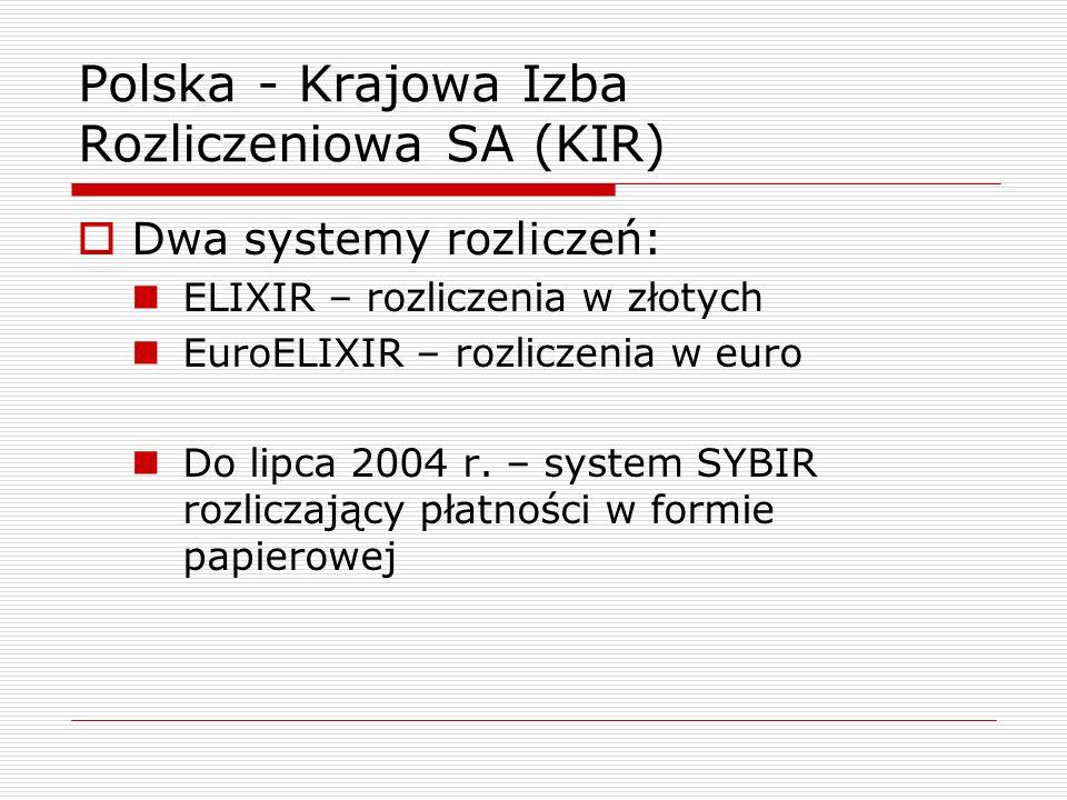 Polska - Krajowa Izba Rozliczeniowa SA (KIR)  Dwa systemy rozliczeń: ELIXIR – rozliczenia w złotych EuroELIXIR – rozliczenia w euro Do lipca 2004 r.