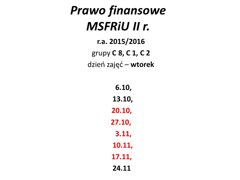 Prawo finansowe MSFRiU II r. r.a.