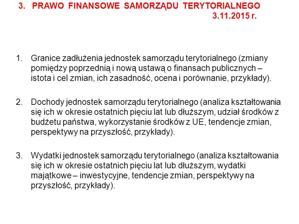 3. PRAWO FINANSOWE SAMORZĄDU TERYTORIALNEGO 3.11.2015 r.