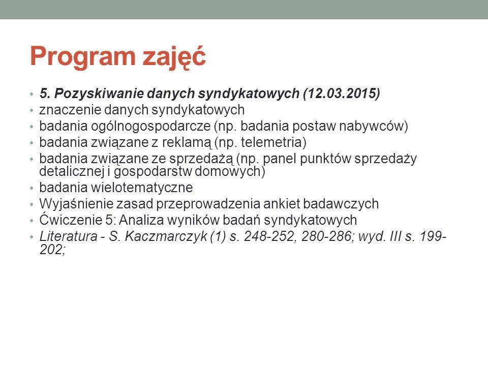 Program zajęć 5. Pozyskiwanie danych syndykatowych (12.03.2015) znaczenie danych syndykatowych badania ogólnogospodarcze (np. badania postaw nabywców)