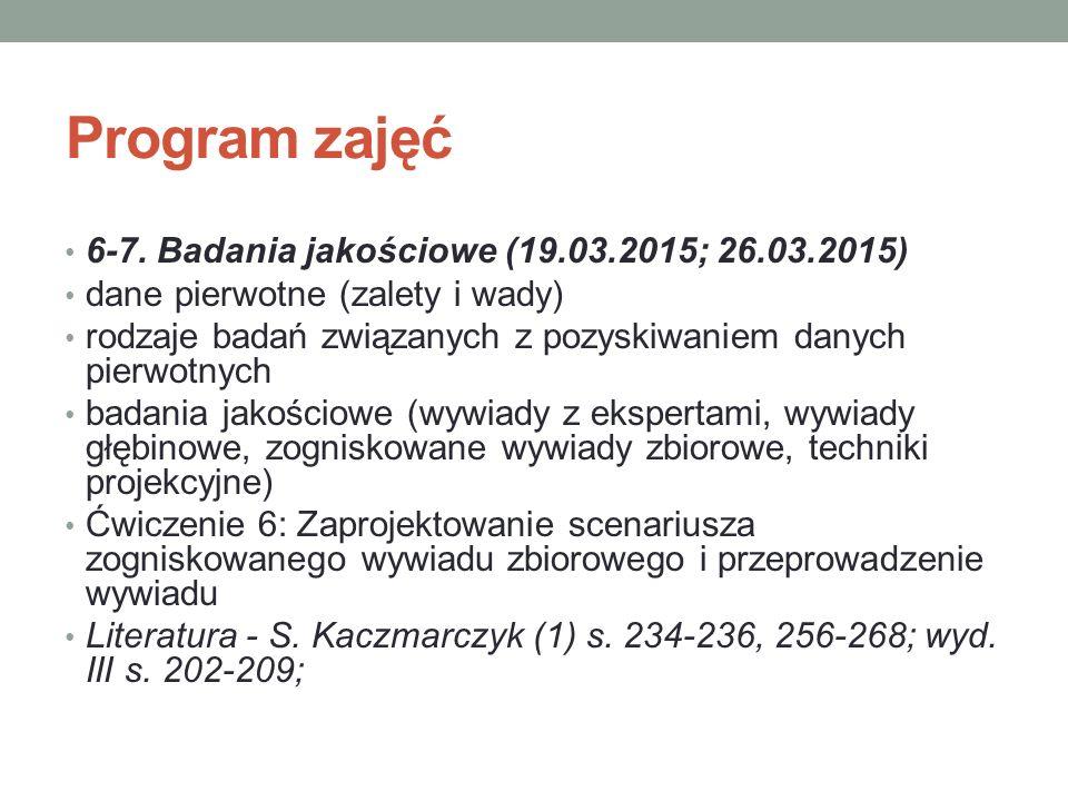 Program zajęć 6-7. Badania jakościowe (19.03.2015; 26.03.2015) dane pierwotne (zalety i wady) rodzaje badań związanych z pozyskiwaniem danych pierwotn