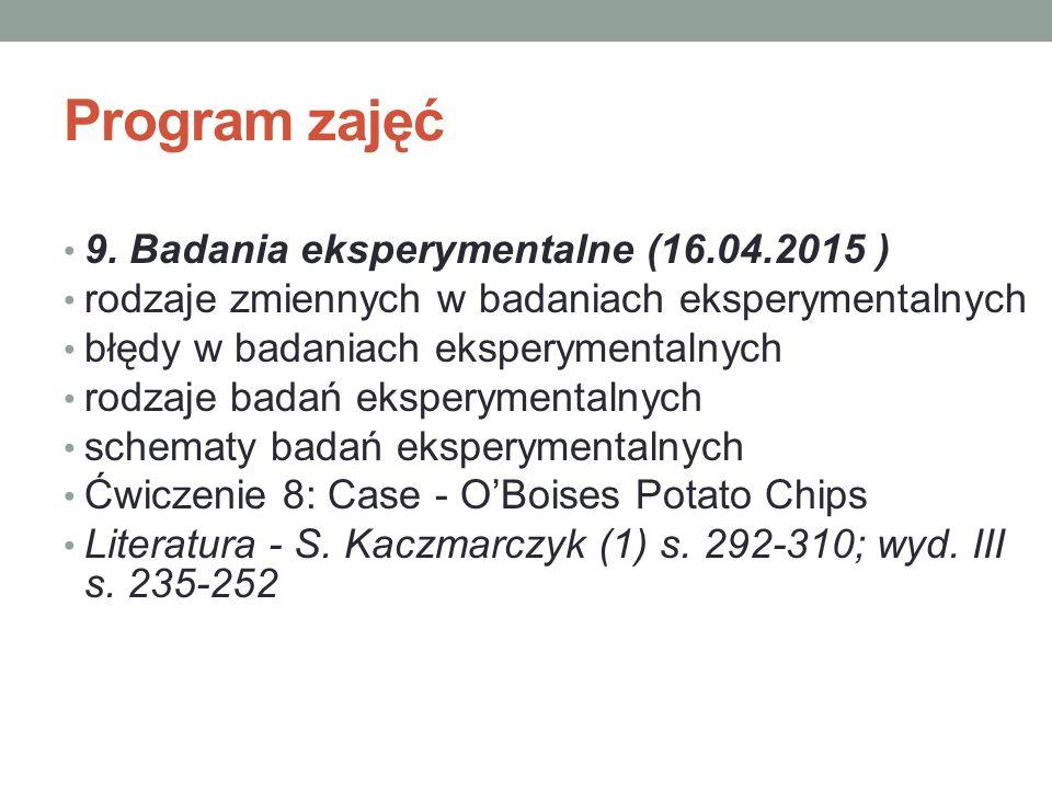 Program zajęć 9. Badania eksperymentalne (16.04.2015 ) rodzaje zmiennych w badaniach eksperymentalnych błędy w badaniach eksperymentalnych rodzaje bad