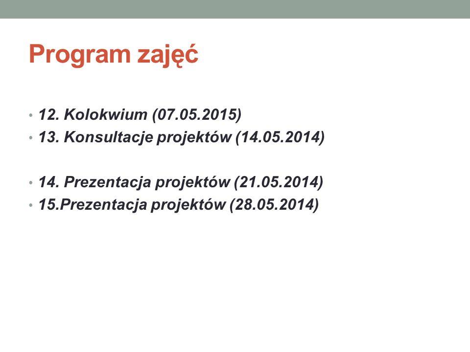 Program zajęć 12. Kolokwium (07.05.2015) 13. Konsultacje projektów (14.05.2014) 14. Prezentacja projektów (21.05.2014) 15.Prezentacja projektów (28.05
