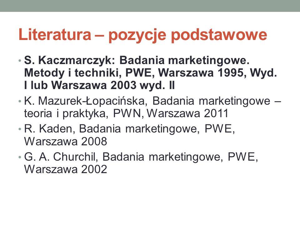 Literatura – pozycje podstawowe S. Kaczmarczyk: Badania marketingowe. Metody i techniki, PWE, Warszawa 1995, Wyd. I lub Warszawa 2003 wyd. II K. Mazur
