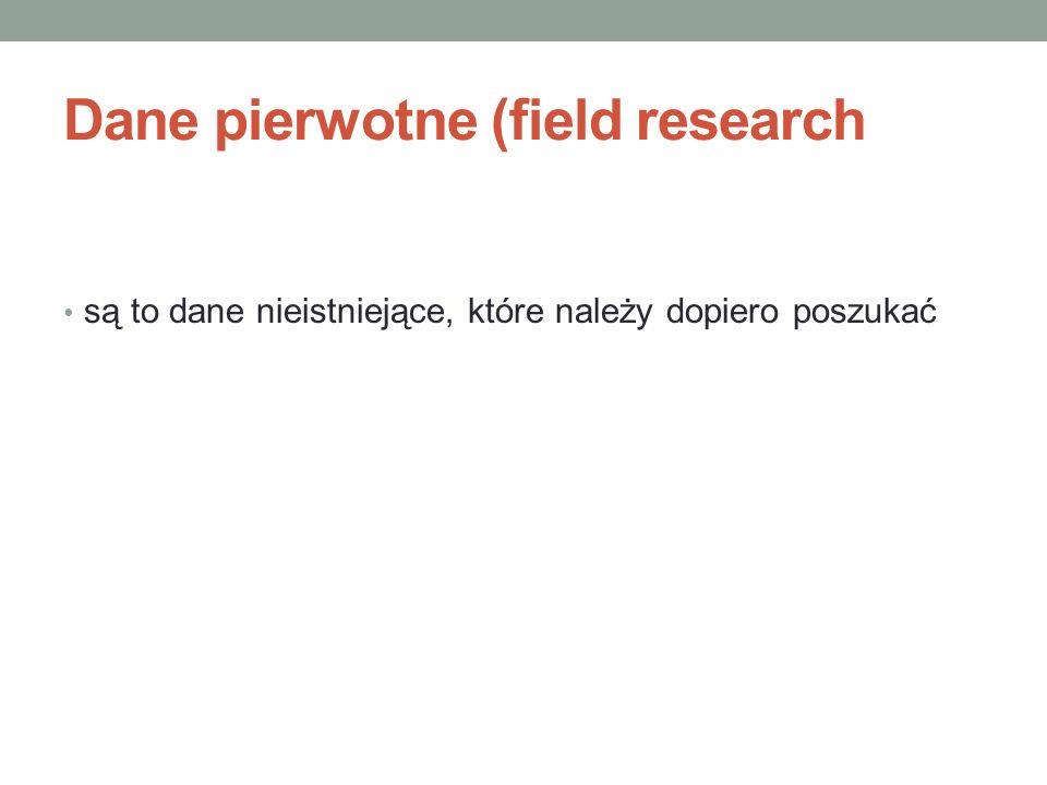 Dane pierwotne (field research są to dane nieistniejące, które należy dopiero poszukać