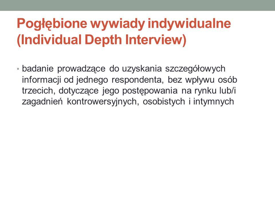 Pogłębione wywiady indywidualne (Individual Depth Interview) badanie prowadzące do uzyskania szczegółowych informacji od jednego respondenta, bez wpły