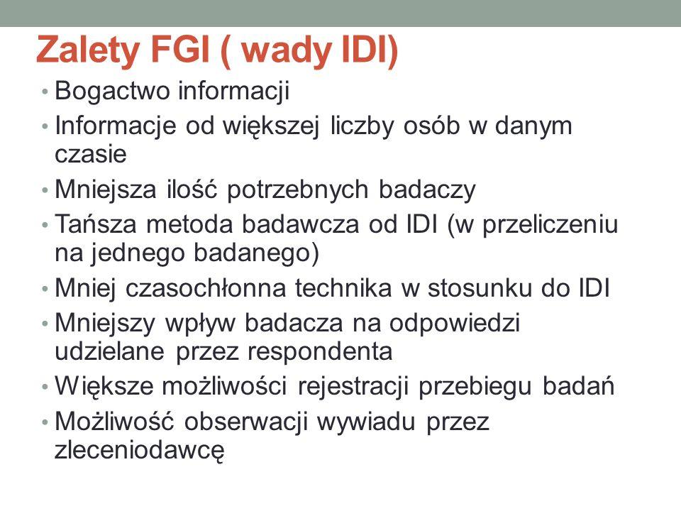 Zalety FGI ( wady IDI) Bogactwo informacji Informacje od większej liczby osób w danym czasie Mniejsza ilość potrzebnych badaczy Tańsza metoda badawcza