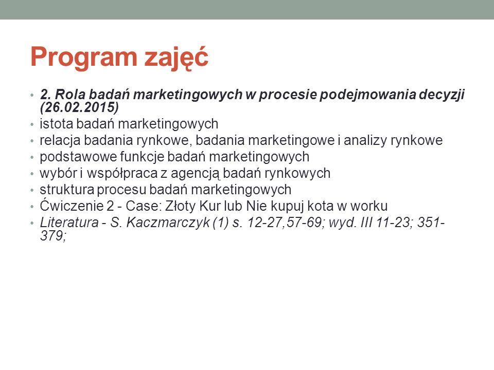 Program zajęć 2. Rola badań marketingowych w procesie podejmowania decyzji (26.02.2015) istota badań marketingowych relacja badania rynkowe, badania m