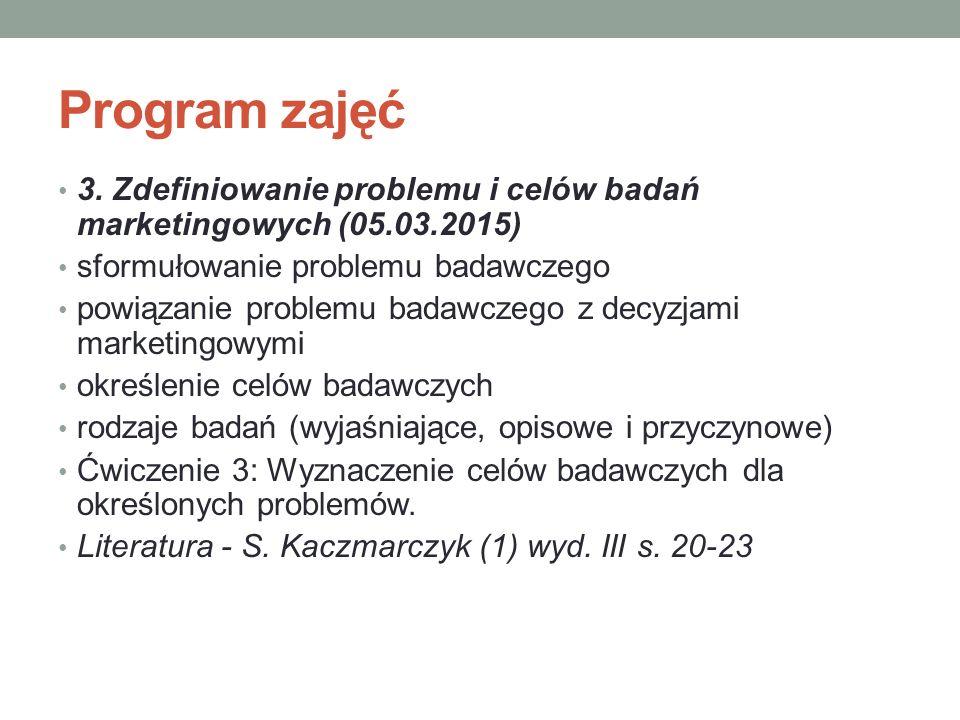 Program zajęć 3. Zdefiniowanie problemu i celów badań marketingowych (05.03.2015) sformułowanie problemu badawczego powiązanie problemu badawczego z d