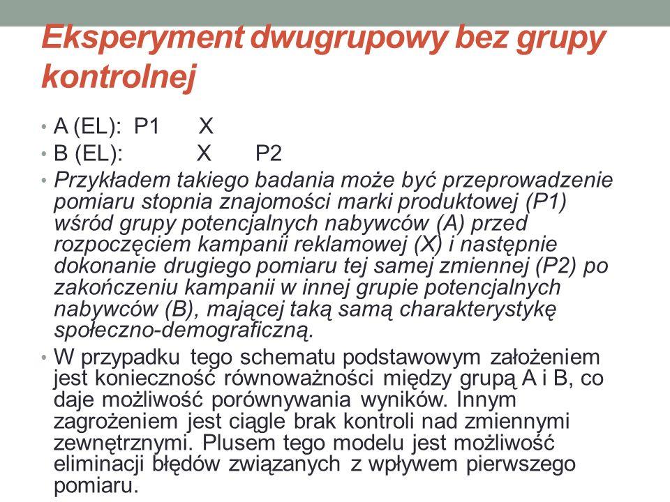 Eksperyment dwugrupowy bez grupy kontrolnej A (EL): P1 X B (EL): X P2 Przykładem takiego badania może być przeprowadzenie pomiaru stopnia znajomości m