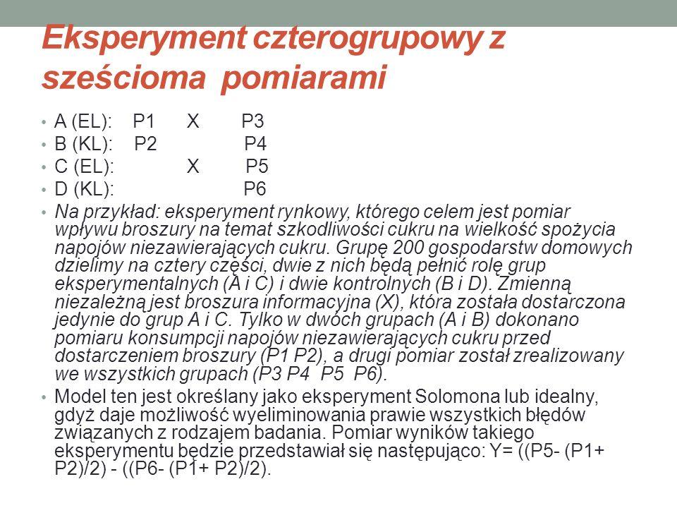 Eksperyment czterogrupowy z sześcioma pomiarami A (EL): P1 X P3 B (KL): P2 P4 C (EL): X P5 D (KL): P6 Na przykład: eksperyment rynkowy, którego celem