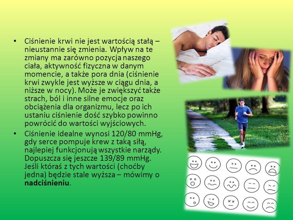 Ciśnienie krwi nie jest wartością stałą – nieustannie się zmienia. Wpływ na te zmiany ma zarówno pozycja naszego ciała, aktywność fizyczna w danym mom