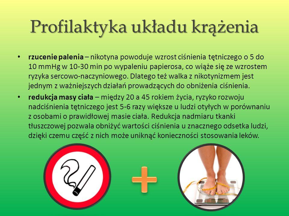 Profilaktyka układu krążenia rzucenie palenia – nikotyna powoduje wzrost ciśnienia tętniczego o 5 do 10 mmHg w 10-30 min po wypaleniu papierosa, co wiąże się ze wzrostem ryzyka sercowo-naczyniowego.