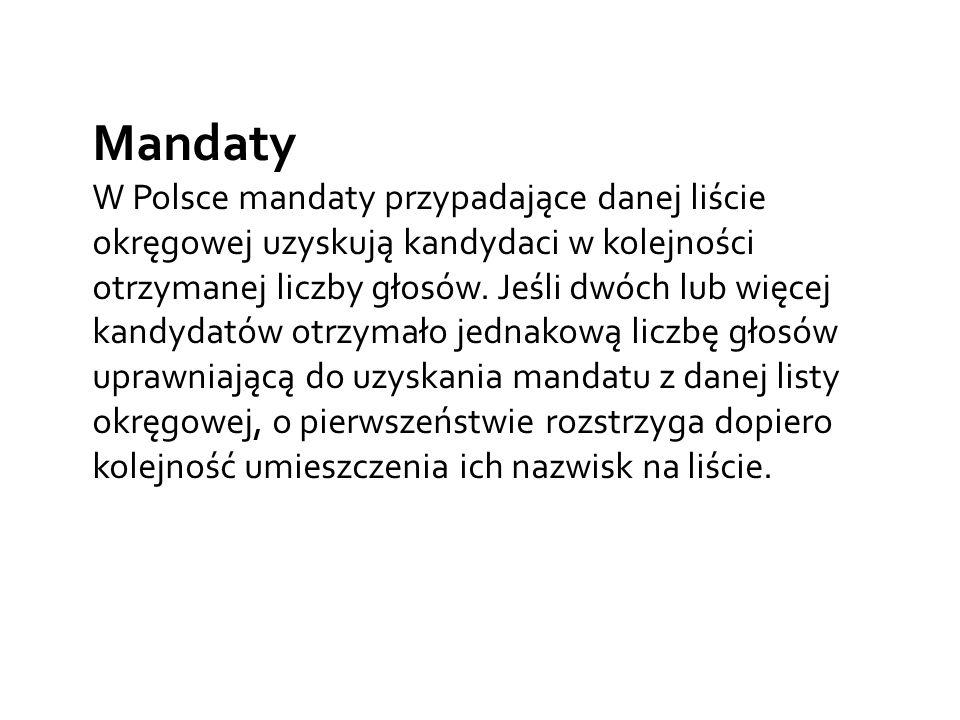 Mandaty W Polsce mandaty przypadające danej liście okręgowej uzyskują kandydaci w kolejności otrzymanej liczby głosów.