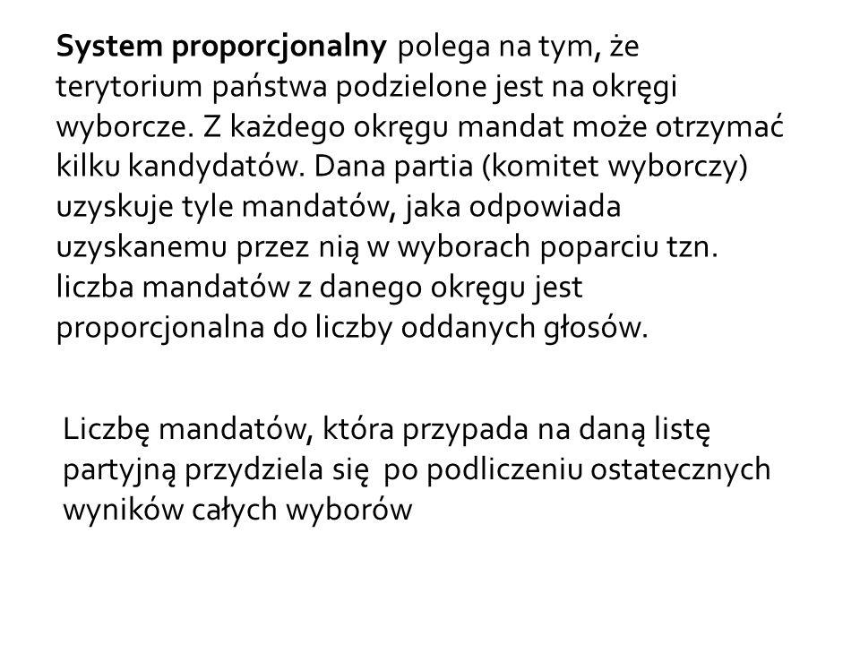 System proporcjonalny polega na tym, że terytorium państwa podzielone jest na okręgi wyborcze.