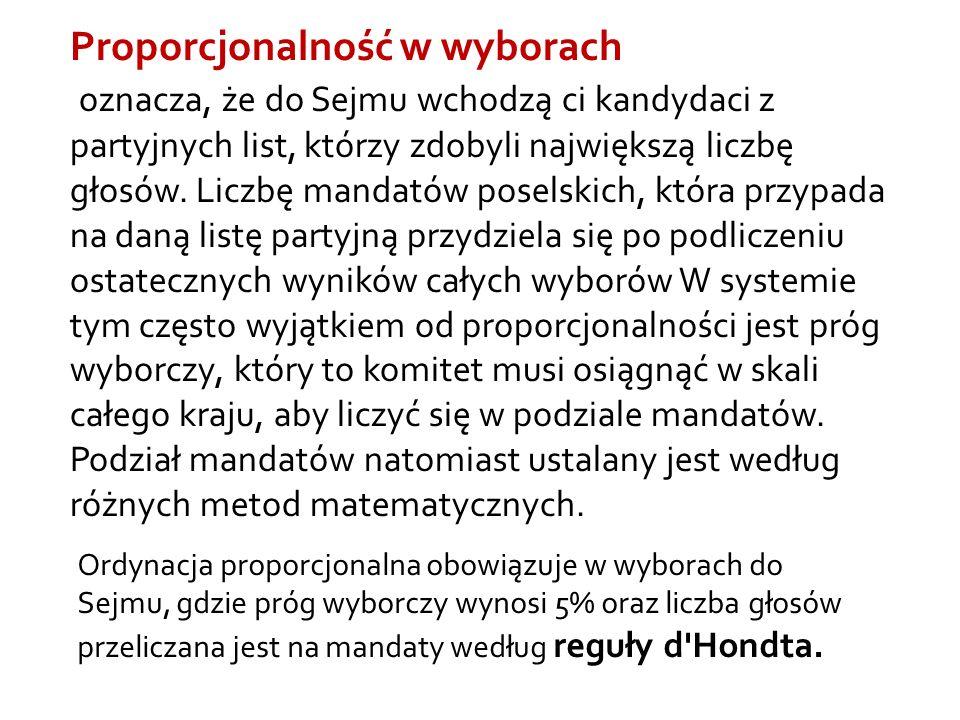 Proporcjonalność w wyborach oznacza, że do Sejmu wchodzą ci kandydaci z partyjnych list, którzy zdobyli największą liczbę głosów.