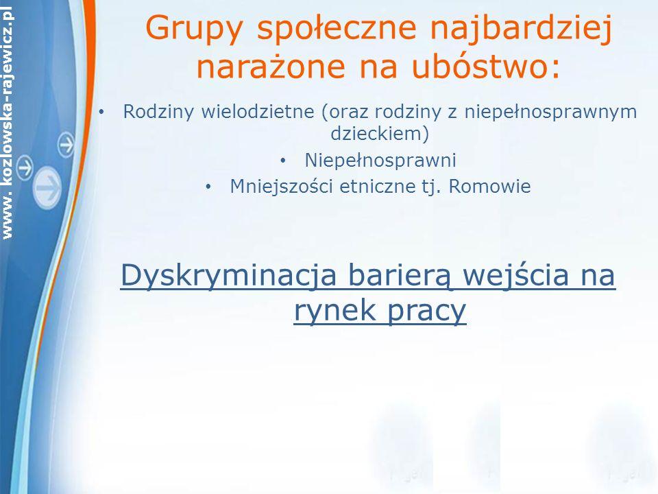 www. kozlowska-rajewicz.pl Grupy społeczne najbardziej narażone na ubóstwo: Rodziny wielodzietne (oraz rodziny z niepełnosprawnym dzieckiem) Niepełnos