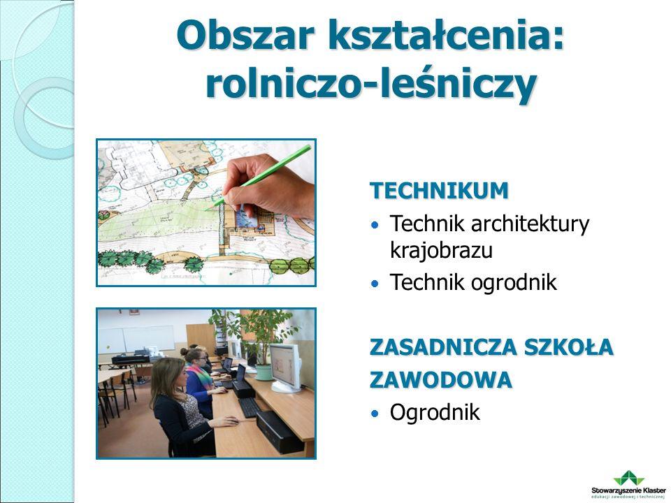 Obszar kształcenia: rolniczo-leśniczy TECHNIKUM Technik architektury krajobrazu Technik ogrodnik ZASADNICZA SZKOŁA ZAWODOWA Ogrodnik