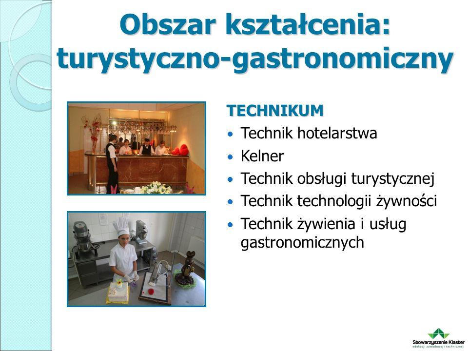 Obszar kształcenia: turystyczno-gastronomiczny TECHNIKUM Technik hotelarstwa Kelner Technik obsługi turystycznej Technik technologii żywności Technik żywienia i usług gastronomicznych