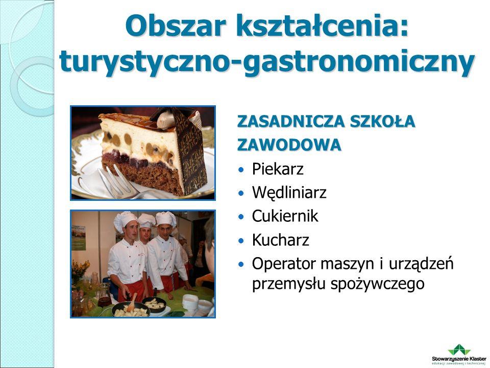 Obszar kształcenia: turystyczno-gastronomiczny ZASADNICZA SZKOŁA ZAWODOWA Piekarz Wędliniarz Cukiernik Kucharz Operator maszyn i urządzeń przemysłu spożywczego