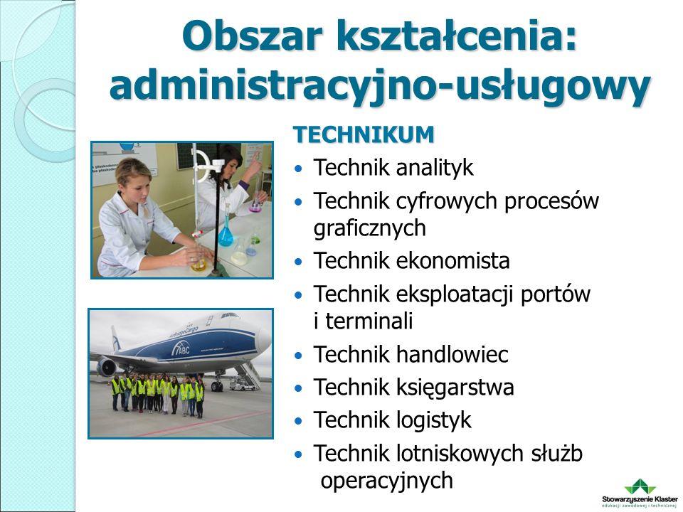 Obszar kształcenia: administracyjno-usługowy TECHNIKUM Technik analityk Technik cyfrowych procesów graficznych Technik ekonomista Technik eksploatacji portów i terminali Technik handlowiec Technik księgarstwa Technik logistyk Technik lotniskowych służb operacyjnych