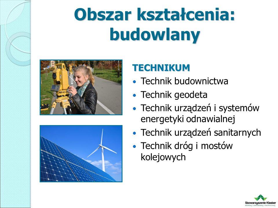 Obszar kształcenia: budowlany TECHNIKUM Technik budownictwa Technik geodeta Technik urządzeń i systemów energetyki odnawialnej Technik urządzeń sanitarnych Technik dróg i mostów kolejowych