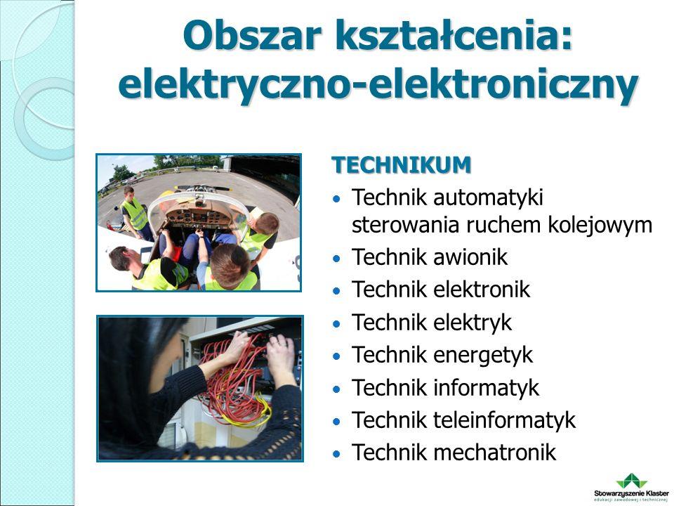 Obszar kształcenia: elektryczno-elektroniczny TECHNIKUM Technik automatyki sterowania ruchem kolejowym Technik awionik Technik elektronik Technik elektryk Technik energetyk Technik informatyk Technik teleinformatyk Technik mechatronik