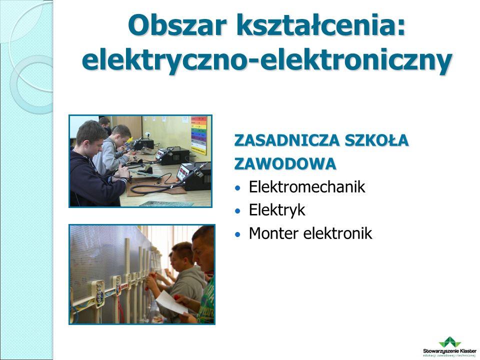 Obszar kształcenia: elektryczno-elektroniczny ZASADNICZA SZKOŁA ZAWODOWA Elektromechanik Elektryk Monter elektronik