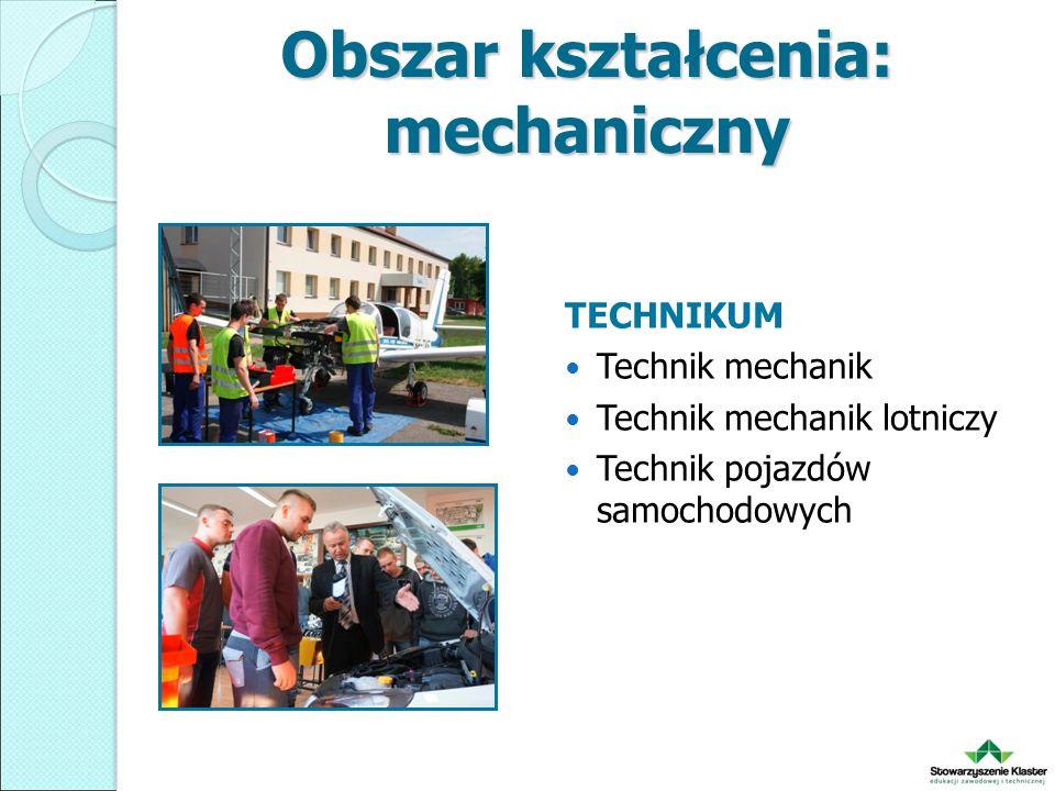 Obszar kształcenia: mechaniczny TECHNIKUM Technik mechanik Technik mechanik lotniczy Technik pojazdów samochodowych