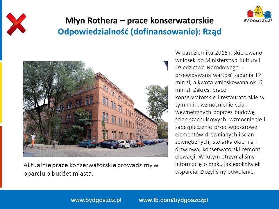 Młyn Rothera – prace konserwatorskie Odpowiedzialność (dofinansowanie): Rząd W październiku 2015 r.
