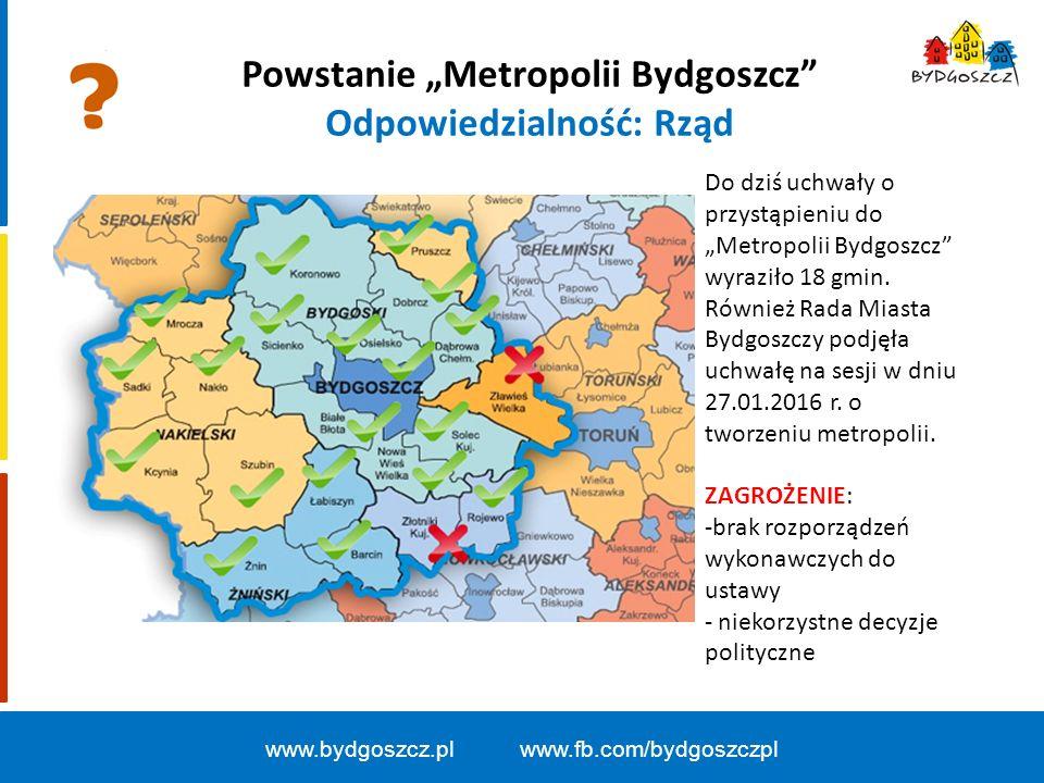 """Powstanie """"Metropolii Bydgoszcz Odpowiedzialność: Rząd www.bydgoszcz.pl www.fb.com/bydgoszczpl Do dziś uchwały o przystąpieniu do """"Metropolii Bydgoszcz wyraziło 18 gmin."""