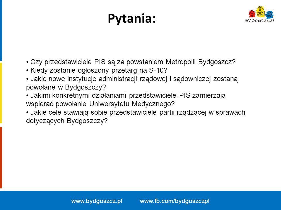 Pytania: www.bydgoszcz.pl www.fb.com/bydgoszczpl Czy przedstawiciele PIS są za powstaniem Metropolii Bydgoszcz.