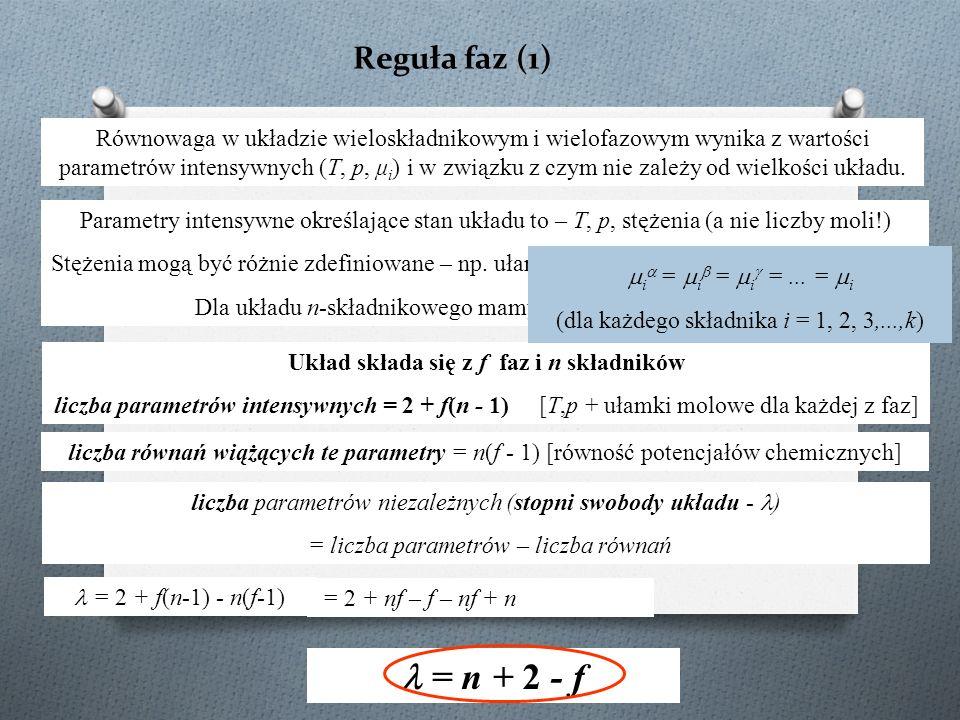 Reguła faz (1) Układ składa się z f faz i n składników liczba parametrów intensywnych = 2 + f(n - 1) [T,p + ułamki molowe dla każdej z faz] Równowaga w układzie wieloskładnikowym i wielofazowym wynika z wartości parametrów intensywnych (T, p, μ i ) i w związku z czym nie zależy od wielkości układu.
