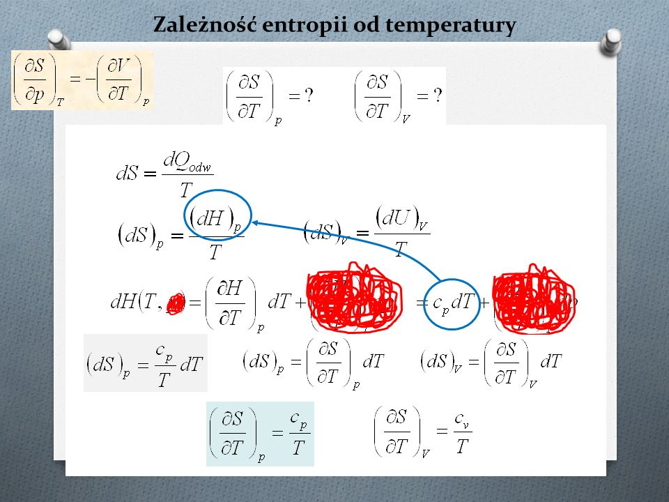Jak wyznaczyć entropię? cpcp lnT lnT 1 lnT 0