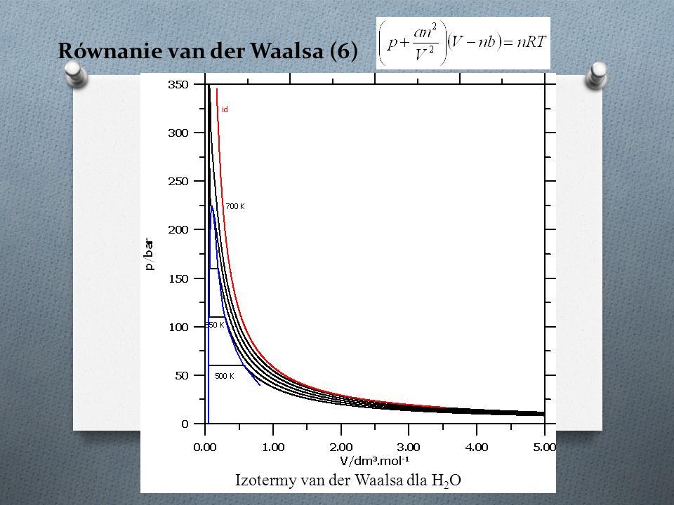 Równanie van der Waalsa (6) Izotermy van der Waalsa dla H 2 O