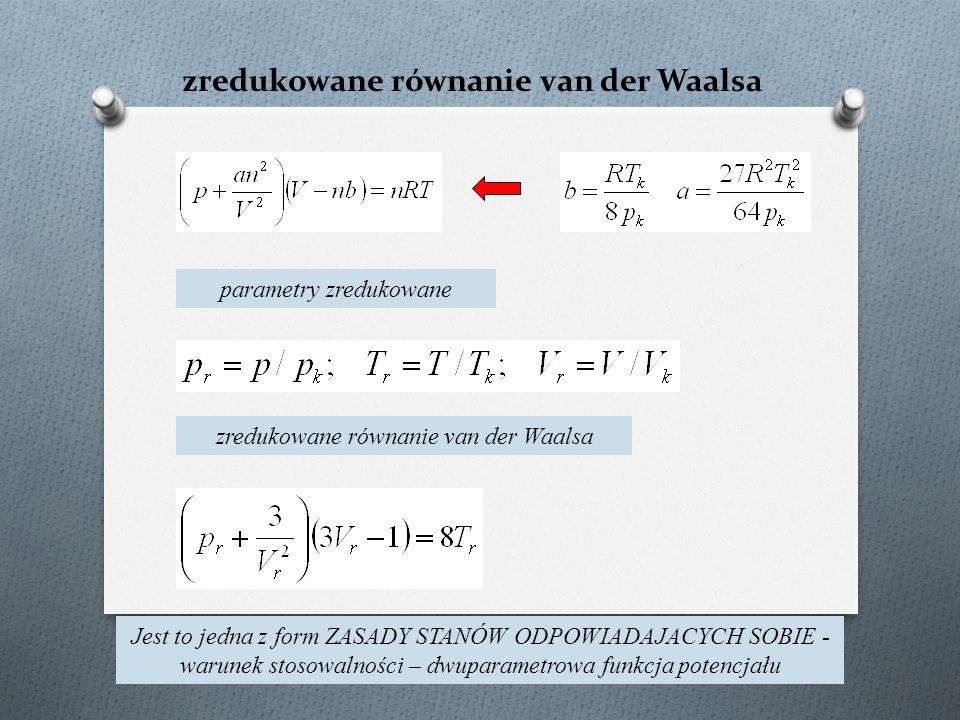 zredukowane równanie van der Waalsa parametry zredukowane zredukowane równanie van der Waalsa Jest to jedna z form ZASADY STANÓW ODPOWIADAJACYCH SOBIE - warunek stosowalności – dwuparametrowa funkcja potencjału
