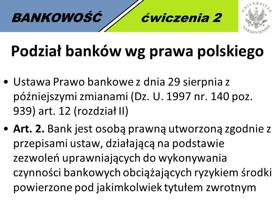 2 BANKOWOŚĆćwiczenia 2 Podział banków wg prawa polskiego Ustawa Prawo bankowe z dnia 29 sierpnia z późniejszymi zmianami (Dz. U. 1997 nr. 140 poz. 939