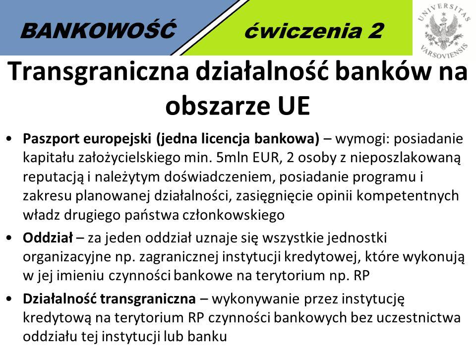 4 BANKOWOŚĆćwiczenia 2 Transgraniczna działalność banków na obszarze UE Paszport europejski (jedna licencja bankowa) – wymogi: posiadanie kapitału zał