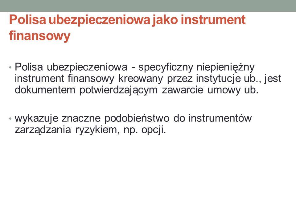 Polisa ubezpieczeniowa jako instrument finansowy Polisa ubezpieczeniowa - specyficzny niepieniężny instrument finansowy kreowany przez instytucje ub.,