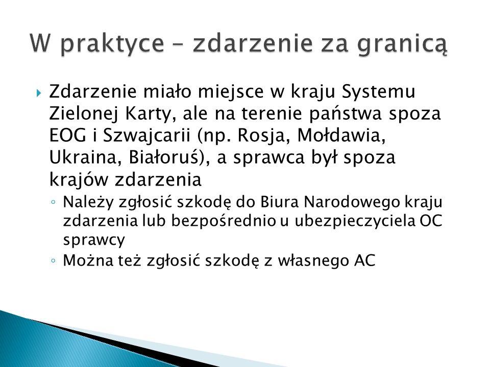  Zdarzenie miało miejsce w kraju Systemu Zielonej Karty, ale na terenie państwa spoza EOG i Szwajcarii (np. Rosja, Mołdawia, Ukraina, Białoruś), a sp