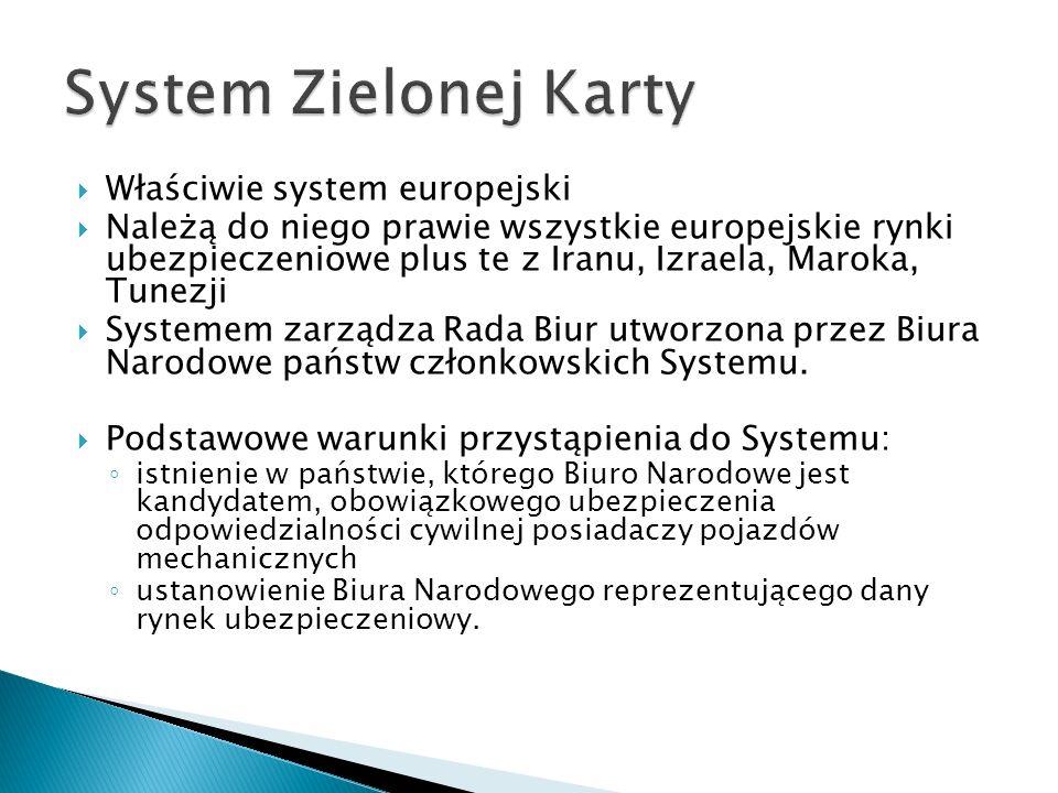  Właściwie system europejski  Należą do niego prawie wszystkie europejskie rynki ubezpieczeniowe plus te z Iranu, Izraela, Maroka, Tunezji  Systeme