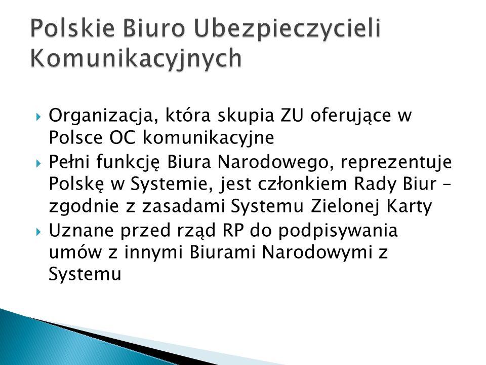  Likwidacja szkód spowodowanych w Polsce przez sprawców o zarejestrowanych pojazdach za granicą  Wystawianie dokumentów ubezpieczeniowych (Zielone Karty) ważnych w innych krajach Systemu, a także ubezpieczeń granicznych ważnych w krajach EOG i Szwajcarii (Europejski Obszar Gospodarczy = UE + Islandia, Lichtenstein, Norwegia)