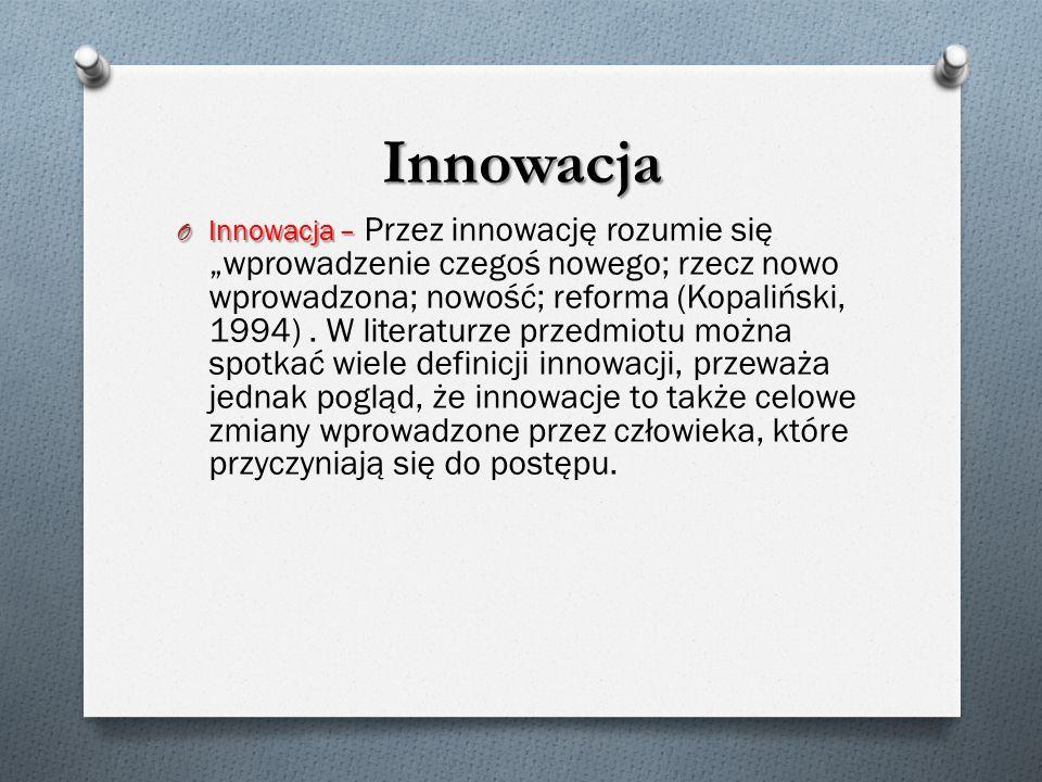 """Innowacja O Innowacja – O Innowacja – Przez innowację rozumie się """"wprowadzenie czegoś nowego; rzecz nowo wprowadzona; nowość; reforma (Kopaliński, 1994)."""