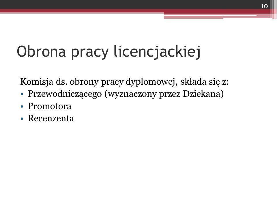 Obrona pracy licencjackiej Komisja ds.