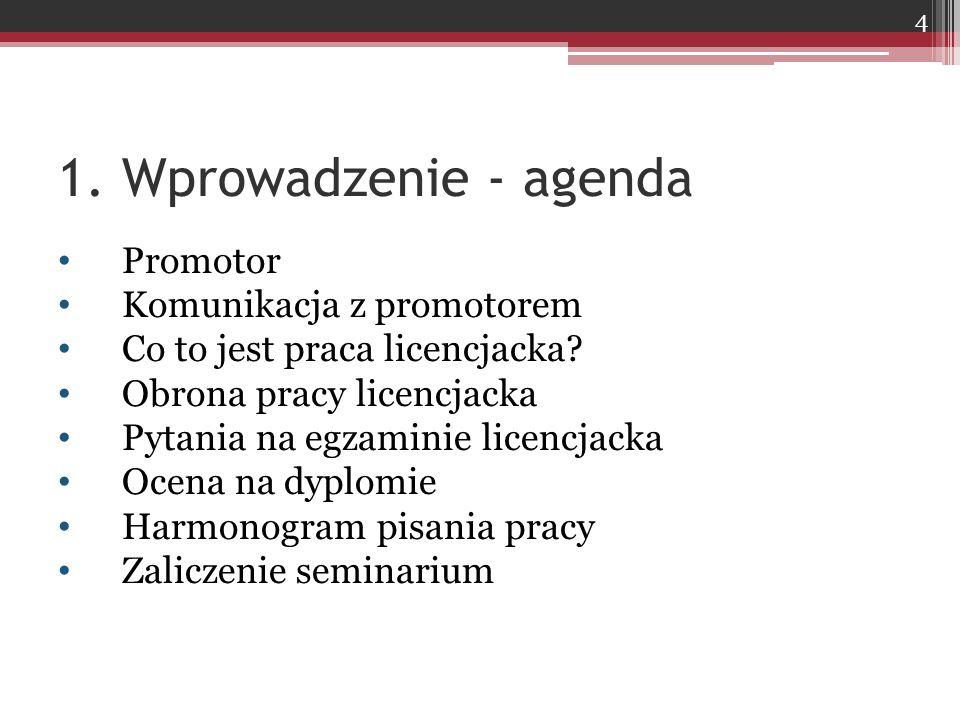 1. Wprowadzenie - agenda Promotor Komunikacja z promotorem Co to jest praca licencjacka.